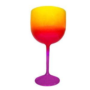 Taça Gin Fluor com 550ml Degradê Roxa, Pink e Amarelo - Rizzo