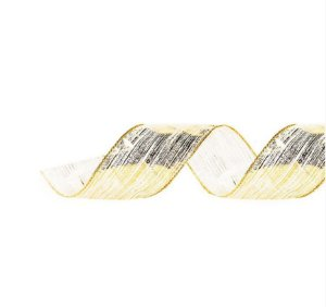 Fita Aramada Voal Pincelada Ouro 3,8cm x 9,14m - 01 unidade - Cromus Natal - Rizzo