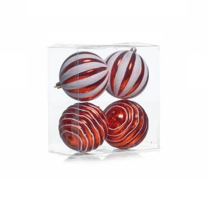 Kit Bolas Texturizadas Vermelho e Branco 10cm - 04 unidades - Cromus Natal - Rizzo Confeitaria