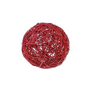 Bola Rattan Vermelho 15cm - 01 unidade - Cromus Natal - Rizzo Confeitaria