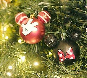 Kit Bolas Acessórios Mickey e Minnie Vermelho e Preto  10cm - 02 unidades Natal Disney - Cromus - Rizzo Confeitaria