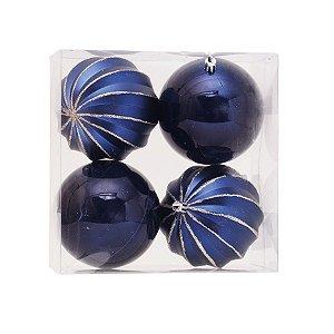Kit Bolas Gomos Lisa Azul Marinho 10cm - 04 unidades - Cromus Natal - Rizzo Confeitaria