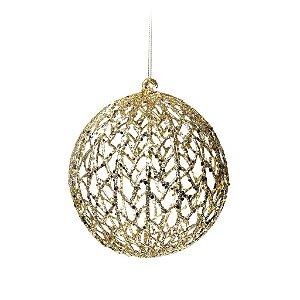 Bola com Glitter Vazada Ouro 12cm - 01 unidade - Cromus Natal - Rizzo Confeitaria