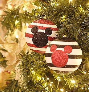Kit Bola Mickey Silhueta Listras Vermelho e Preto 10cm - 02 unidades - Natal Disney - Cromus - Rizzo Confeitaria