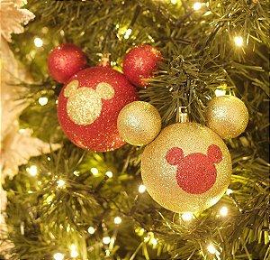 Kit Bola Mickey Silhueta Glitter Vermelho e Ouro 8cm - 04 unidades - Natal Disney - Cromus - Rizzo Confeitaria