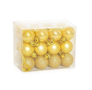 Kit Bola Fosca Texturizadas Brilho Ouro 3cm - 24 unidades - Cromus Natal - Rizzo Confeitaria