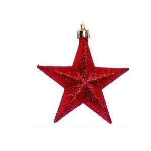 Enfeite para Pendurar Estrela Vermelha  10cm - 6 unidades - Cromus Natal - Rizzo