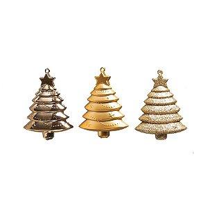 Enfeite para Pendurar Pinheiros Ouro 10cm - 03 unidades - Cromus Natal - Rizzo