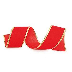 Fita Aramada Vermelha com Borda Dourada 3,8cm x 9,14m - 01 unidade - Cromus Natal - Rizzo