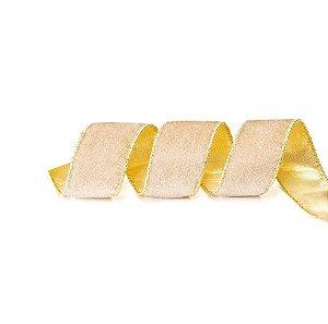 Fita Aramada Bege e Ouro 6,3cm x 9,14m - 01 unidade - Cromus Natal - Rizzo