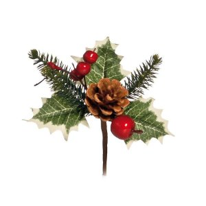 Pick Cerejas com Pinha 10cm - 01 unidade - Cromus Natal - Rizzo Confeitaria