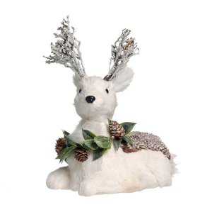 Rena Crespinha Deitada Branco com Guirlanda P 25cm - 01 unidade - Iceland - Cromus Natal - Rizzo Confeitaria