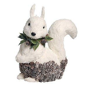 Esquilo Crespinho Branco com Guirlanda G 30cm - 01 unidade - Iceland - Cromus Natal - Rizzo