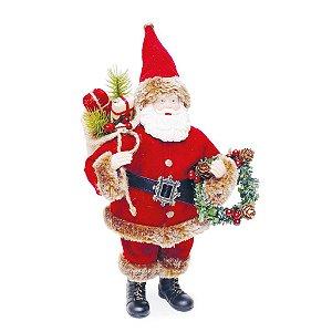 Noel com Guirlanda Vermelho  30cm - 01 unidade - Cromus Natal - Rizzo Confeitaria