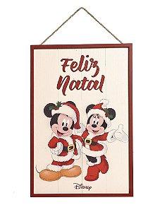 Quadro de Madeira Mickey e Miniie Feliz Natal 40cm - 01 unidade - Natal Disney - Cromus - Rizzo Confeitaria