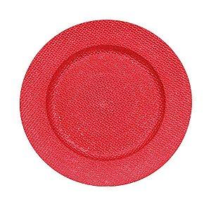 Sousplat Craquelado Vermelho 33cm - 01 unidade - Cromus Natal - Rizzo Confeitaria