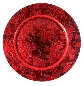 Sousplat com Flores Vermelho 33cm - 01 unidade - Cromus Natal - Rizzo Confeitaria