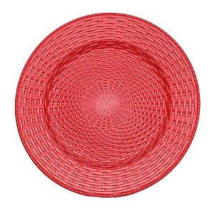 Sousplat Trançado Vermelho 33cm - 01 unidade - Cromus Natal - Rizzo Confeitaria