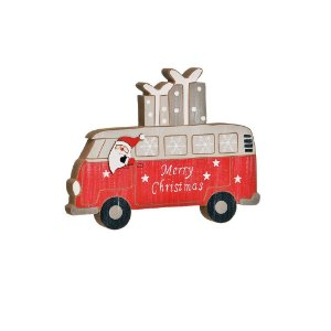Van em Madeira com Noel Vermelho - 01 unidade - Cromus Natal - Rizzo Confeitaria