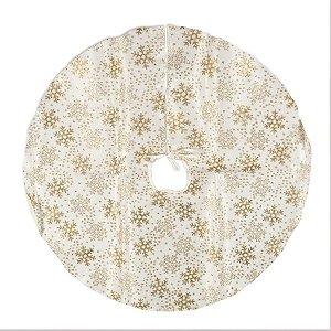 Saia para Árvore Flocos de Neve Marfim e Ouro 70cm - 01 unidade - Cromus Natal - Rizzo Confeitaria