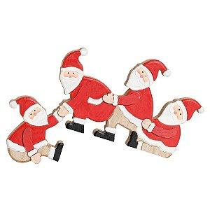 Noéis Sentados em Madeira 19cm - 01 unidade - Cromus Natal - Rizzo Confeitaria