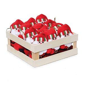 Mini Box Mini Noéis para Pendurar com Touca - 12 unidades - Cromus Natal - Rizzo Confeitaria