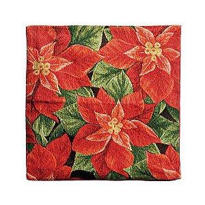 Capa para Almofada Poinsettia 45cm - 01 unidade - Cromus Natal - Rizzo Confeitaria