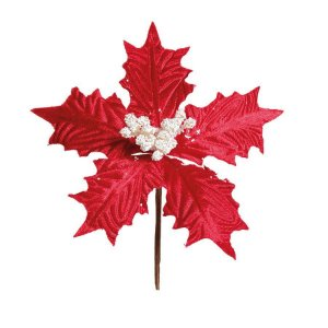 Flor Cabo Curto Poinsettia Vermelho Veludo Miolo Branco 20cm - 01 unidade - Cromus Natal - Rizzo Confeitaria