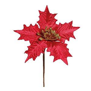Flor Cabo Curto Poinsettia Vermelho Veludo Frutos Glitter 20cm - 01 unidade - Cromus Natal - Rizzo Confeitaria