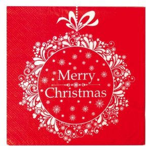 Guardanapo Vermelho Merry Christmas 32,5cm - 20 folhas - Cromus Natal - Rizzo