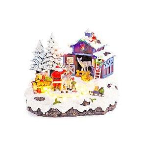 Cenário Natalino - Casa Papai Noel - Som, Luz e Movimento - Bivolt - 01 unidade - Cromus Natal - Rizzo
