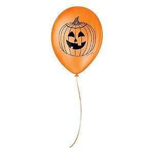 Balão de Festa Decorado Halloween Abobora - Laranja e Preto - São Roque - Rizzo Balões