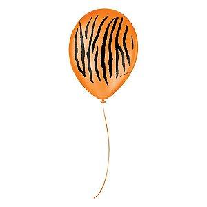 """Balão de Festa Decorado Tigre - Laranja e Preto 9"""" 23cm - 25 Unidades - São Roque - Rizzo Balões"""