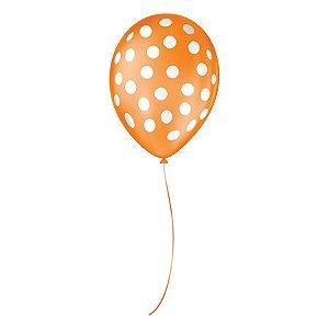 """Balão de Festa Decorado Poá Bolinha - Laranja e Branco 9"""" 23cm - 25 Unidades - São Roque - Rizzo Balões"""
