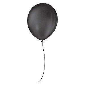 Balão de Festa Látex Liso - Preto - 50 Unidades - São Roque