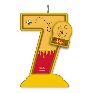 Vela Mesversário Festa Pooh e sua Turma - 7 mês - 01 Unidade - Festcolor - Rizzo