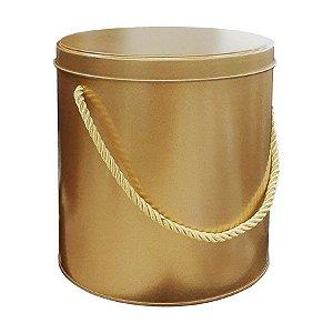 Lata Redonda para Lembrancinha com Alça Ouro - 14 x 14cm - Artegift - Rizzo