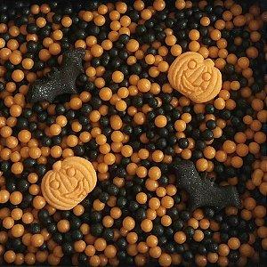 Sprinkles Morcegos, Aboboras e Bolinhas Pretas e Laranjas Halloween - 60g - 01 Unidade Morello - Rizzo Confeitaria
