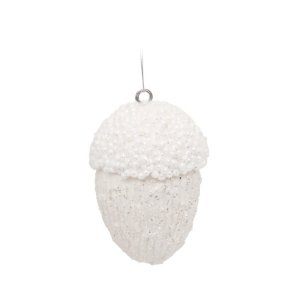 Enfeite para Pendurar Pinha Branca 11cm - 1 unidade - Cromus Natal - Rizzo