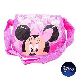 Bolsa Infantil Rosa Glitter Minnie Mouse - Disney Original - 1 Un - Rizzo