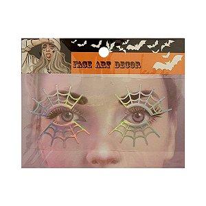 Adesivo Facial Halloween - Face Art Decor - Teias - Prata - 01 unidade - Rizzo