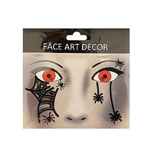 Adesivo Facial Halloween - Face Art Decor - Teia e Aranhas - Preto - 01 unidade - Rizzo