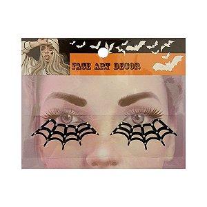 Adesivo Facial Halloween - Face Art Decor - Teias - Preto - 01 unidade - Rizzo