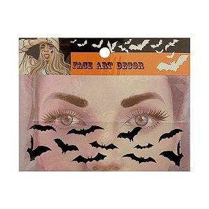 Adesivo Facial Halloween - Face Art Decor - Morcegos - Preto - 01 unidade - Rizzo
