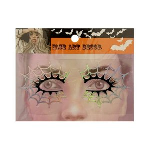 Adesivo Facial Halloween - Face Art Decor - Teias - Prata/Preto - 01 unidade - Rizzo