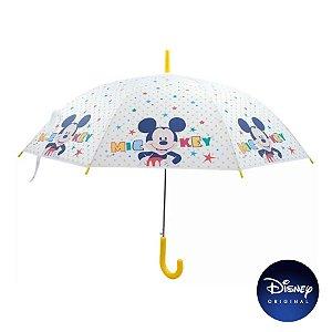 Guarda Chuva Branco Amarelo Mickey Mouse - Disney Original - 1 Un - Rizzo