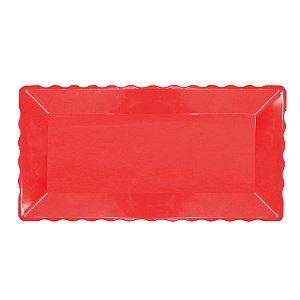 Bandeja Retangular Plástico Liso Vermelha - 16x30cm - 1 Un - Rizzo