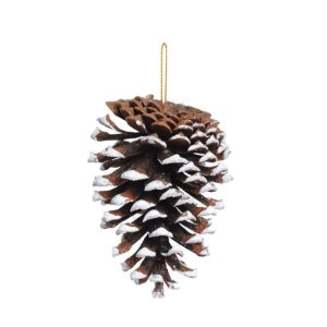 Enfeite para Pendurar Pinha de Natal com Detalhe Branco 10cm - 5 unidades - Cromus Natal - Rizzo