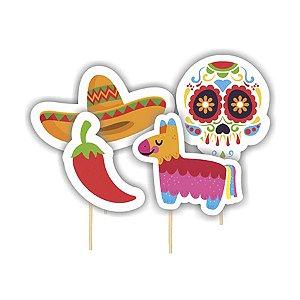 Pick Decorativo Festa Mexicana Dia Dos Mortos - 04 Unidade - Junco - Rizzo