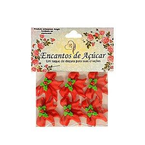 """Confeitos Comestíveis """"Laço Vermelho e Flores"""" - 01 Unidade - Rizzo"""